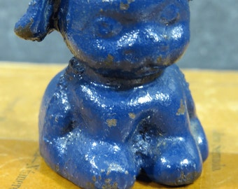 Vintage Hubley Cast Iron BLUE Pup Dog Paperweight, Advertising, Blue FIDO Puppy, Small