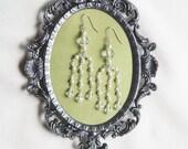 Long crystal earrings, beaded earrings, chandelier wedding earings, bridal jewlery,wedding jewelry,pearl and crystal earring NATALIE Crystal
