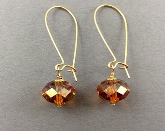 Crystal Earrings In Gold With Astral Pink Swarovski Crystals
