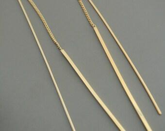 Gold Earrings - Threader Earrings - Gold Bar Earrings - Long Earrings - Bridal Earrings - Handmade Earrings