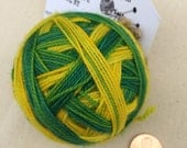 Green and Yellow Self Striping Fingering Weight Yarn