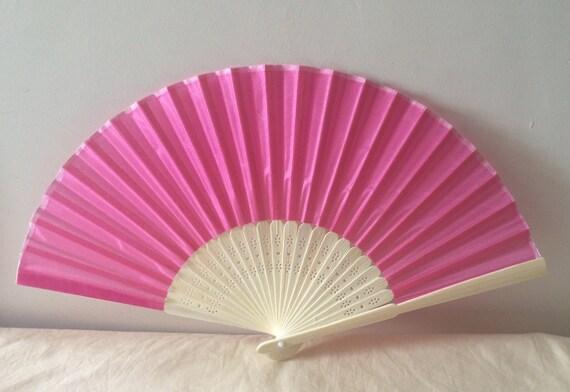 Regency/Victorian Style Fan. Rose Pink Silky Fan. Bridal Favour.