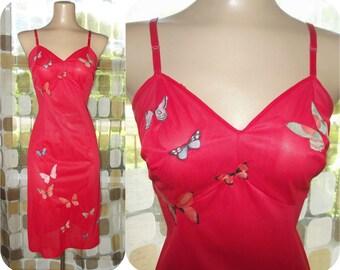 Vintage 60s Full Slip | 1960s Red Full Slip | Vanity Fair | Scarlet Red | Vintage Lingerie | Butterfly Appliques | 1950s 50s Retro | Size ML