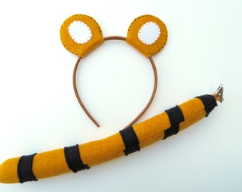 Wool Felt Tiger Ears and Tail