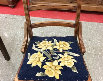 SALE Antique Walnut Chair Blue And Yellow Floral Needlepoint Seat1800s Country Wooden
