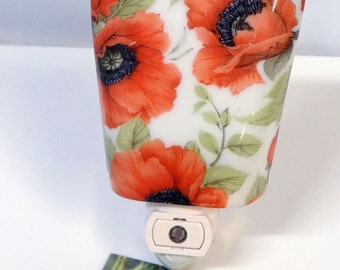 Fused Glass Night Light - Poppies