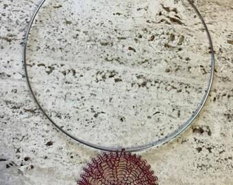 Red mesh medallion pendant