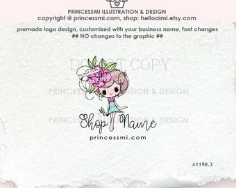 1190-3 cute girl logo, kawaii girl logo, peony and girl illustration, illustrated logo, boutique logo business logo by princessmi