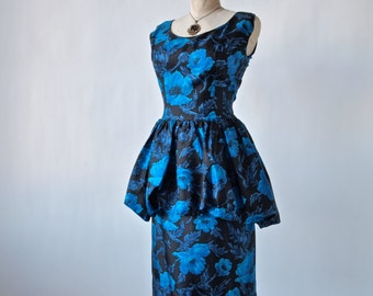 Blue Peonies Silky 50's Mad Men Wiggle Dress with Pouf Peplum