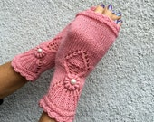 Handmade Fingerless Pink Mitts - Cheer Up! by Dom Klary