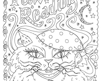 Instant Download Paw Readings Halloween Cat Art Coloring Pages Book Adult Digi