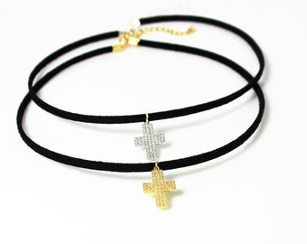 Cross Choker Necklace - Pave Set Cross Necklace - Gold Fill or Sterling Silver - Perfect Layering Necklace, Bridesmaids, Faith, Chokers
