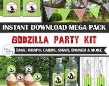 Godzilla Birthday, Godzilla Baby Shower, Godzilla Birthday Decorations, Godzilla Baby Shower Decorations, Godzilla Party Decorations