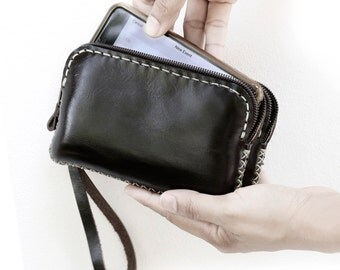 IPhone6 Hand Sewn Zipper Leather Pouch, Black
