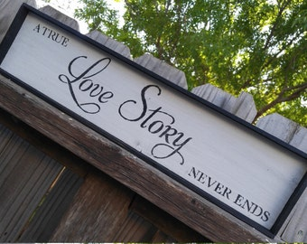 True Love Story Rustic Wood Sign, Wedding Gift, Anniversary Gift, Rustic Home Decor, Wall Hanging, Reclaimed Wood Sign