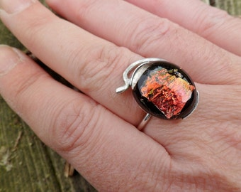 Dichroic Glass Ring. Fused Glass Ring. Adjustable Ring. Dichroic Ring. Handmade Ring. Dichroic Orange Glass Ring.