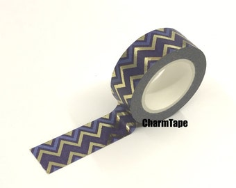Navy Blue Chevron Gold Foil Washi Tape Roll 15mm x 10meters WT914