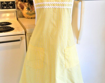 Old Fashioned Grandma Style Yellow Gingham Apron MADE TO ORDER