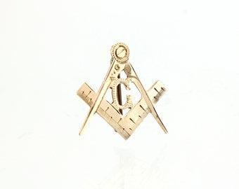 Antique 10K Masonic Lapel Pin -1895 Victorian