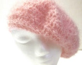 Pink Mohair Cloche Hat/Spring Woolen Hat/Pink Beret/Womans Cap/Mothers Day Gift /Woolen Beret, Womans Beret, Warm Cap, Made in the USA