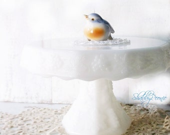 Vintage Milk Glass Cake Plate. Pedestal Cake Stand. Cottage Shabby chic. Weddings. Tea Parties. Holidays