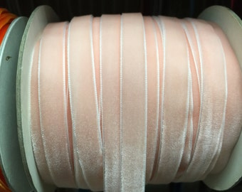 Velvet Ribbon - Pastel Light Pink Velvet Ribbon 10mm ( 3/8 inches )