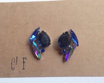 Royal Blue Crystal Rhinestone Earrings - Kate