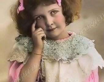 Instant Download Vintage Photograph - Thinking Girl