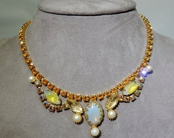 Gold Rhinestone & Moonglow Cabochon Necklace