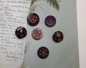 6 Victorian Cranberry Glass Buttons w/ Etched Gold Designs