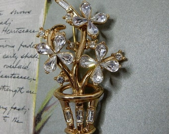Miniature Crown TRIFARI Clear Rhinestone Flower Pot Brooch