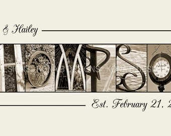 Personalized Gifts for Wedding, Custom Last Name Sepia WEDDING,  Realtor Gifts, Alphabet Photography,  10x20 Unframed print