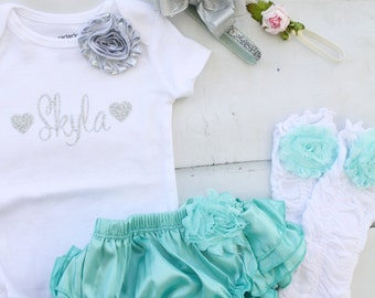 Aqua and Silver Easter Outfit.  Newborn Baby Girl Coming Home Outfit Set. Valentine's or 1st Birthday Outfit. Bodysuit Leggings Diaper Cover