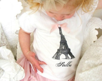 Personalized Eiffel Tower Baby Girl  & Girl's Tee / T-Shirt. Paris Tee, Newborn Baby Girl Coming Home Outfit, Matching Sisters, Summer tee