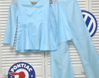 Vintage 70's Girls Pantsuit 2 Piece Set/Dance Drill/Long Sleeve Top & Pants/Costume Theater/Handmade OOAK/Arctic Blue size Medium 10