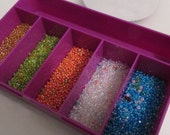 Mini Storage BOX with Seed Beads - Estate sale find - 5 colors
