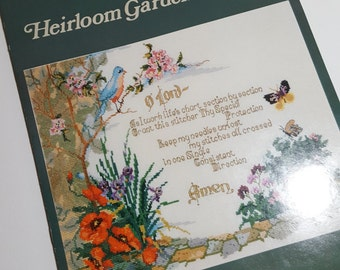 Cross Stitch PATTERN leaflet by Charles Ross, Heirloom Garden Border, vintage pattern