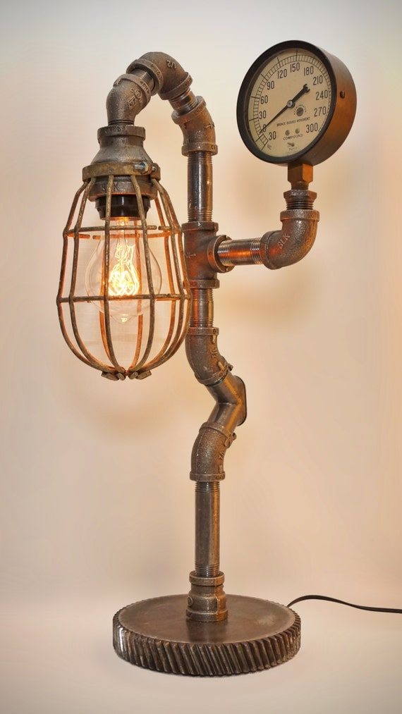 iron pipe steampunk industrial lamp with edison filament bulb. Black Bedroom Furniture Sets. Home Design Ideas