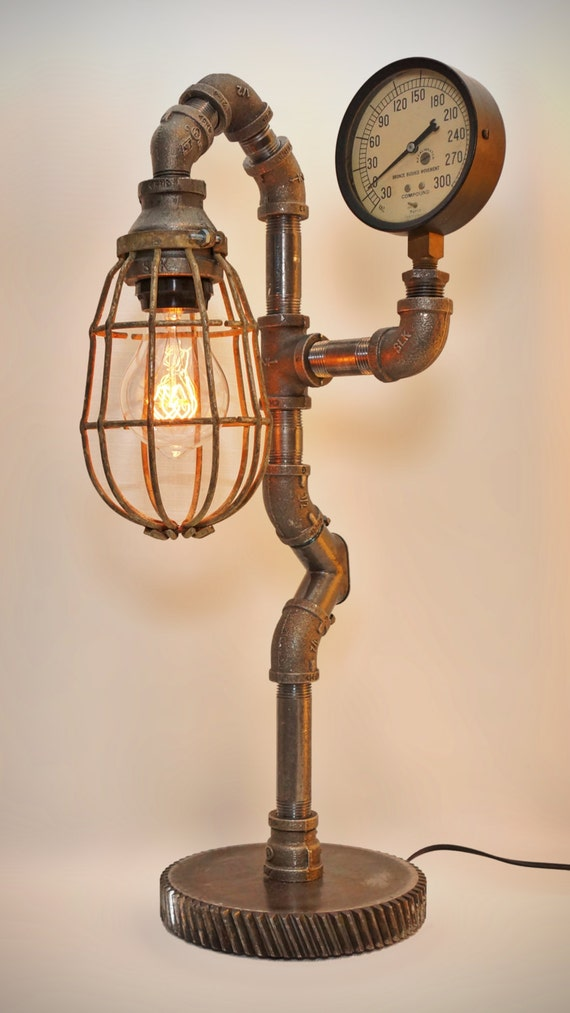 Iron pipe steampunk industrial lamp with edison filament bulb for Black iron pipe lights