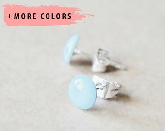 Sterling Silver Stud Earrings - Any Color