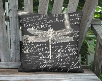 Papeterie Chalkboard Dragonfly Pillow Cover - French Postcard Paris Pillow - 16x 18x 20x 22x 24x 26x 28x Inch Linen Cushion Cover