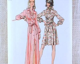 Vintage Pattern Simplicity 5909 Bust 32.5 1970s pleated shirt dress Maxi below knee Uncut