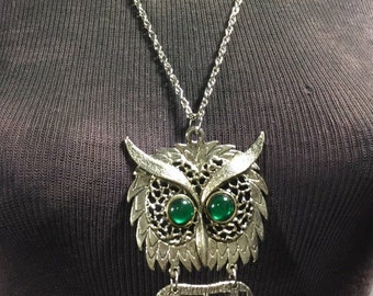Owl Necklace with Emerald Green Eyes