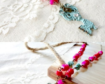 Cottage chic turquoise patina key pendant necklace with bright pink fuchsia beaded chain, Cottage Key