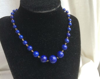 Vintage Art Deco Lapis Blue Sparkle Rolled Gold Necklace