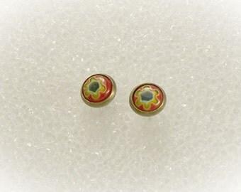 Minimalist Earrings Millefiori Earrings Millefiori Jewelry Small Post Earrings Stud Earrings Teen Jewelry Red Flower Earrings - 16062