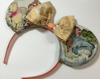 Winnie the Pooh Mouse Ears with Bow - Mad Ears - MADE TO ORDER