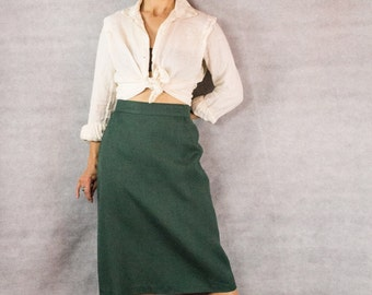 80s Emerald Green Pencil Skirt/// Size 14US/ 44FRA