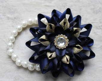 Wrist Corsage, Navy Blue Corsage, Navy Blue and Gold, Prom Corsage, Homecoming Corsage, Wrist Flowers, Dark Blue, Navy Wedding Corsages