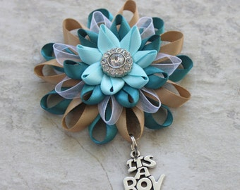 Its a Boy Corsage, Its a Boy Pin, Baby Boy Shower Corsage, Baby Boy Shower Decorations, Teal, Tan, Aqua Blue Baby Shower Decor, Mommy to Be